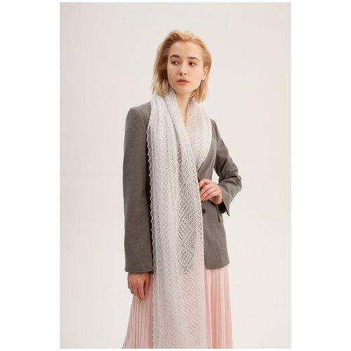 Палантин, ТМ Оренбургский пуховый платок, МАМ 16080-03 цвет светло-серый
