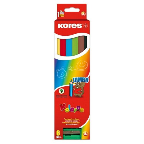 Карандаши цветные 6цв 3-гран,точилка Kores Jumbo 93506.01