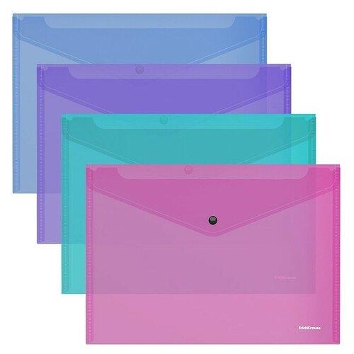 Папка-конверт на кнопке пластиковая Fizzy Vivid, полупрозрачная, A4, ассорти недорого