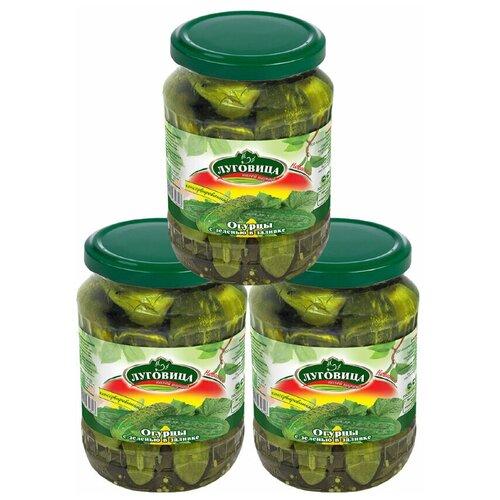 Огурцы Луговица консервированные с зеленью в заливке на лимонке 680 гр