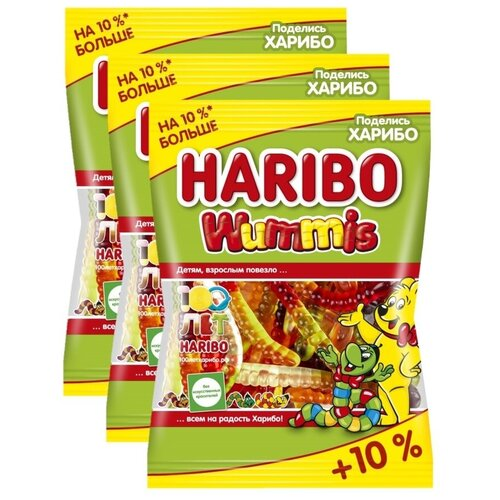 HARIBO Жевательный мармелад Wummis / Червячки Вуммис, 3шт по 155гр