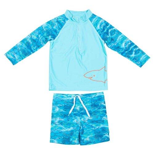 Купить Костюм купальный КОТОФЕЙ 2 шт., размер 104-110, голубой, Белье и пляжная мода