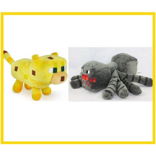 Мягкая игрушка Майнкрафт Оцелот и Паук, Minecraft, желтого и черного цвета, 16 см