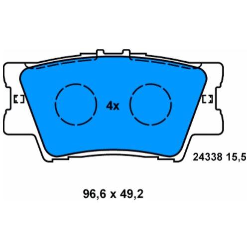Дисковые тормозные колодки задние ATE 13.0460-5765.2 для Toyota Camry, Toyota RAV4, Lexus ES, Lexus HS (4 шт.)