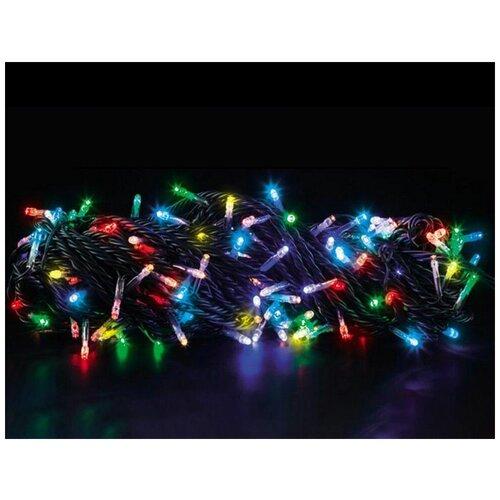 Светодиодная гирлянда радужные блики , 200 RGB LED-огней, 20+1.5 м, коннектор, зеленый провод, уличная, Торг-Хаус L-200L