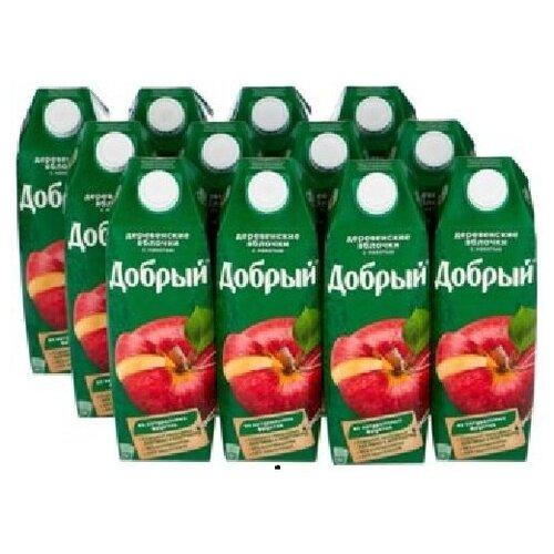 Нектар Добрый деревенские яблочки 1л*12шт.