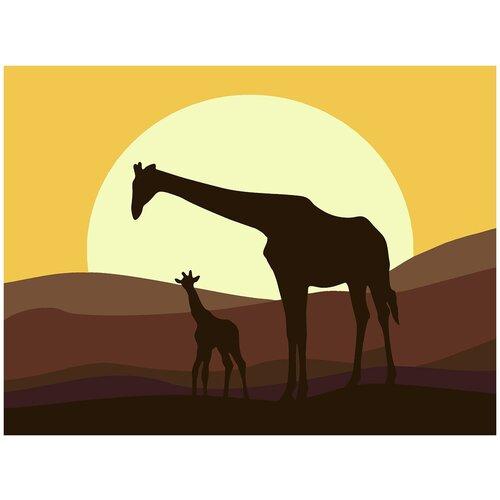 Купить Картина по номерам Жирафы Минимализм, 80 х 100 см, Красиво Красим, Картины по номерам и контурам