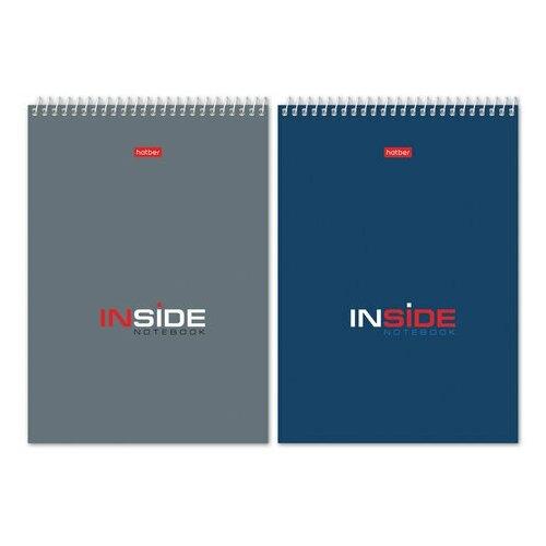 Купить Блокнот А5 (145х205 мм), 80 л., гребень, картон, жесткая подложка, клетка, HATBER, INSIDE ( Офисный ), 80Б5С1гр, B46173, 5 шт., Блокноты и записные книжки