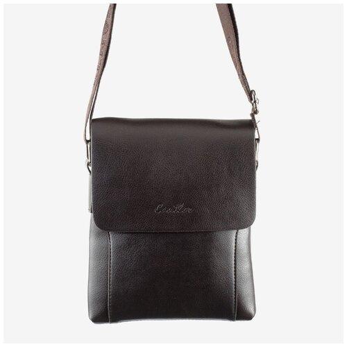 Мужская сумка-планшет из экокожи Cantlor 164M-6 коричневая