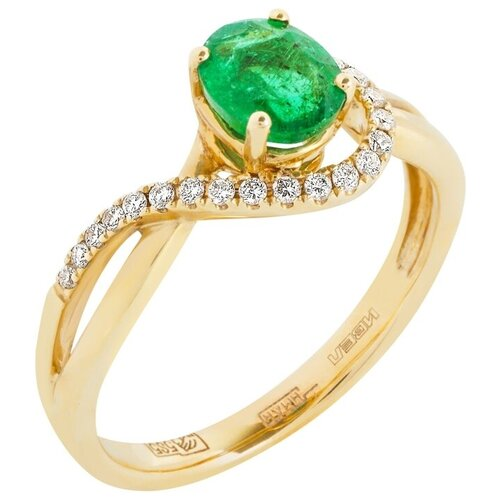 Yvel Кольцо с изумрудом и бриллиантами из жёлтого золота 00451396, размер 17 sargon jewelry кольцо с бриллиантами и изумрудом из жёлтого золота r1311 2010 размер 17 5