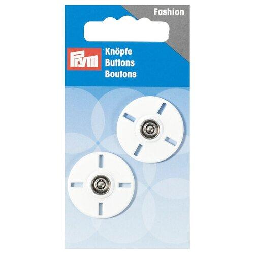 Фото - Prym Кнопки пришивные 341932, белый, 25 мм, 2 шт. prym кнопки пришивные квадратные 347125 белый 9 мм 15 шт