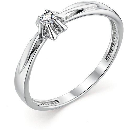 АЛЬКОР Кольцо с 1 бриллиантом из белого золота 12797-200, размер 17.5
