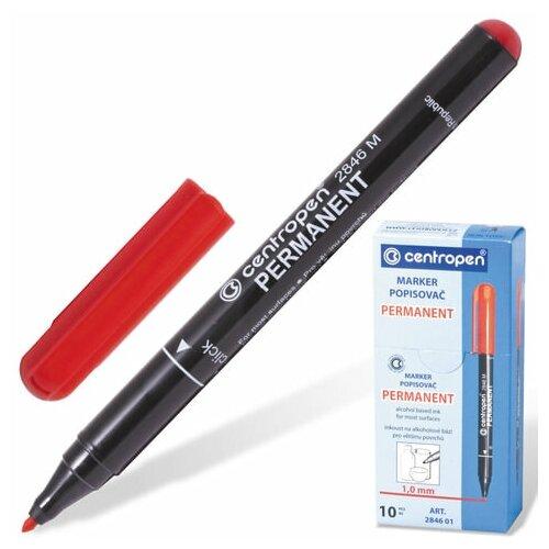 Купить Маркер перманентный CENTROPEN 2846, красный, тонкий наконечник, 1 мм, 6 2846 9404, 6 шт., Маркеры