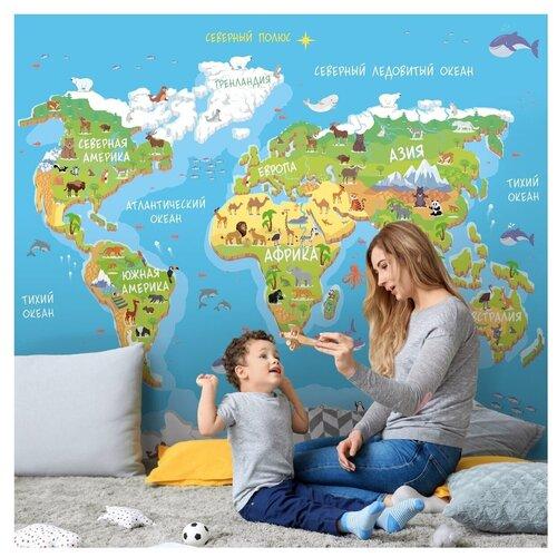 Фотообои Детская карта мира в голубых и зеленых цветах с животными/ Красивые уютные обои на стену в интерьер комнаты/ Детские для мальчика для девочки, для подростков/ В детскую спальню/ размер 300х270см/ Флизелиновые