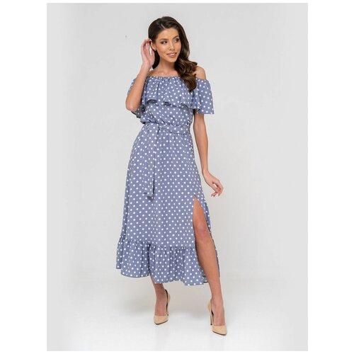 Платье сарафан в горох, открытые плечи с воланом, юбка колокольчик с воланом, серо-голубой цвет, размер S