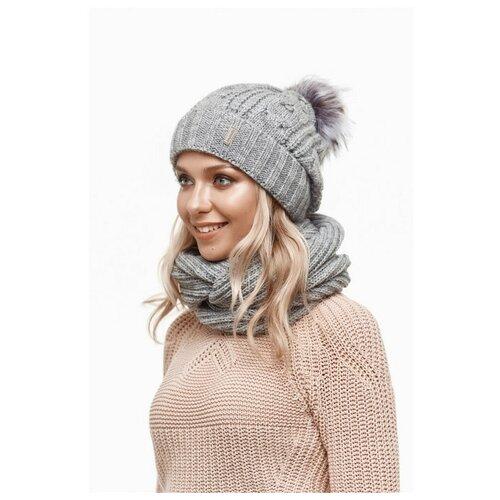 Женская зимняя шапка с помпоном и отворотом, флисовый подклад , крупная вязка, светло-серый цвет