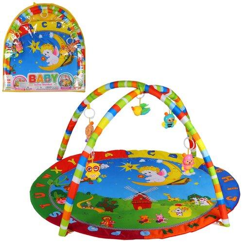 Детский коврик развивающий для малышей, круглый, подвески-погремушки, в сумке, игрушки развивающие, коврик для ползания детский, коврик для детей, игровой коврик детский, коврик для малышей, коврик для ребенка, коврик для детей игровой, мягкий, 61*3*67 см
