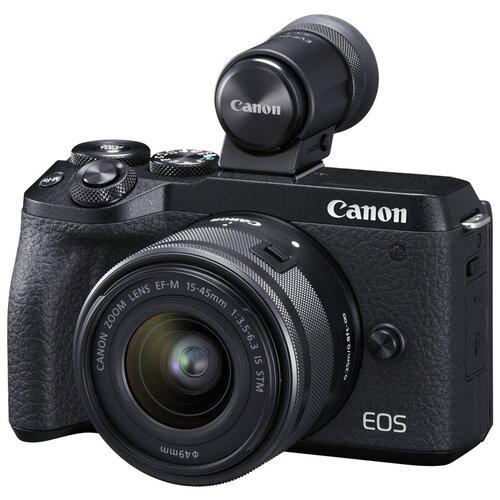 Фотоаппарат Canon EOS M6 Mark II Kit черный EF-M 15-45mm f/3.5-6.3 IS STM + EVF-DC2 фотоаппарат canon eos m50 kit ef m 15 45mm f 3 5 6 3 is stm white 2681c012