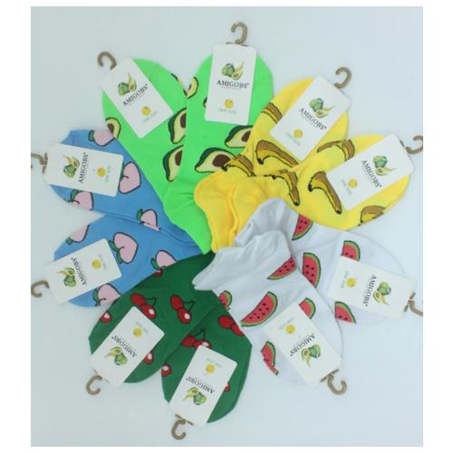 Носки женские короткие Amigobs 1058 фрукты / 10пар, белые, желтые, зеленые ,салатовые, голубые, размер 37-41