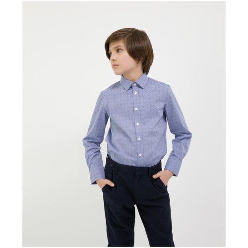 Сорочка синяя с длинным рукавом Gulliver для мальчиков, цвет синий, размер 164, модель 200GSBC2307