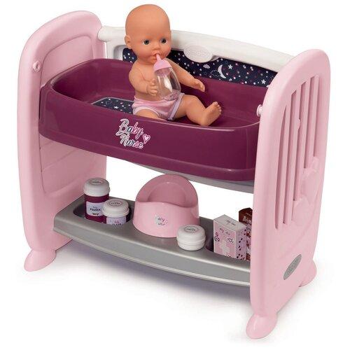 Кроватка для пупса 2 в 1, Smoby, Baby Nurse, регулируемая высота