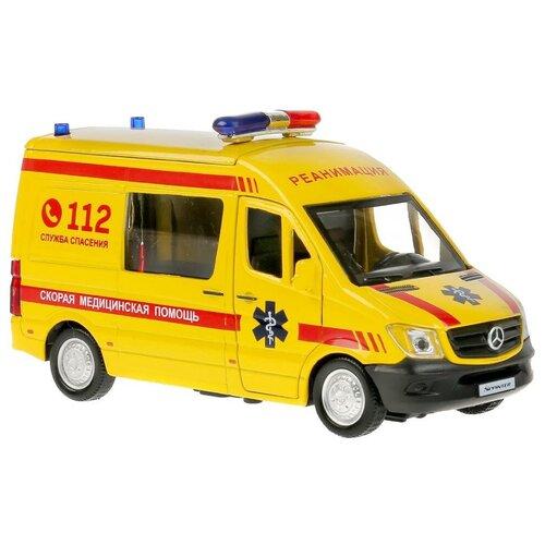 Модель автомобиля Технопарк Mercedes-Benz Sprinter Реанимация, инерционная, свет, звук SPRINTERVAN-14SLAMB-YE микроавтобус технопарк mercedes benz sprinter реанимация sprinter 22pl rean 22 см желтый