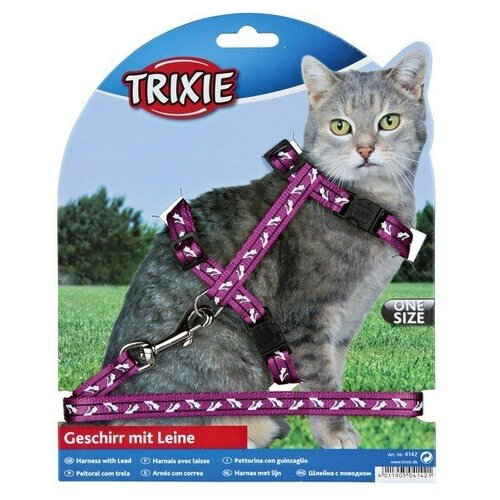 Шлейка с поводком для кошки Черепа и кости, нейлон, Trixie (товары для животных, цвет может отличаться, 41894)