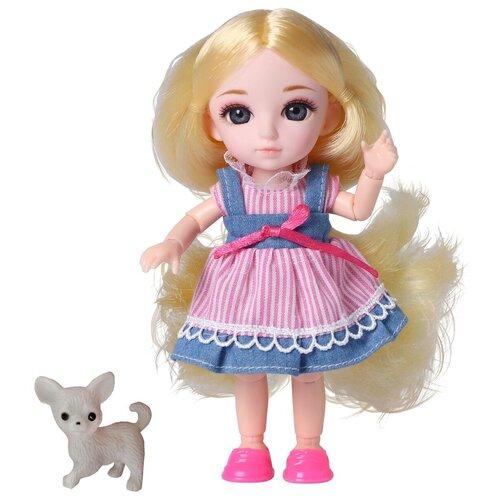 Кукла шарнирная Funky Toys Малышка Лили, блондинка, с собачкой, 16 см (FT72005)