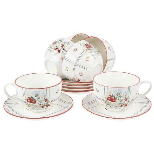 набор чайный best home porcelain indigo 200 мл 4 предмета Чайный набор 12 предметов на 6 персон Лукошко, 220 мл., Best Home Porcelain, 0600111