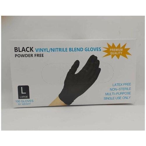 Фото - Нитриловые одноразовые перчатки Wally Plastic нестерильные, неопудренные, размер L, 100 шт (50 пар), черного цвета перчатки одноразовые нитриловые черные wally plastic размер m 100 шт 50 пар