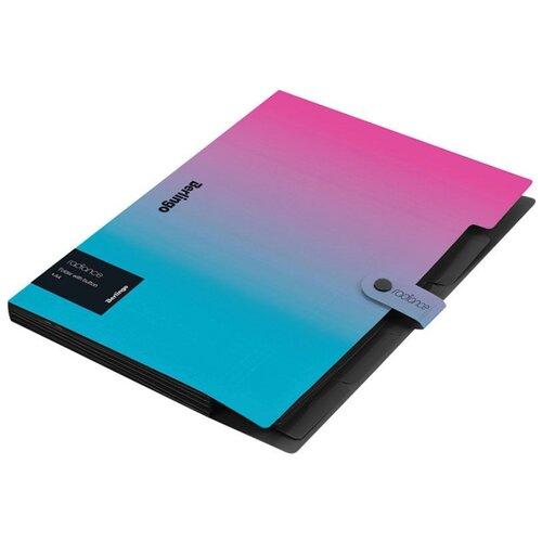 Berlingo Папка 5 отделений Radiance А4 600мкм на кнопке пластик розовый/голубой градиент