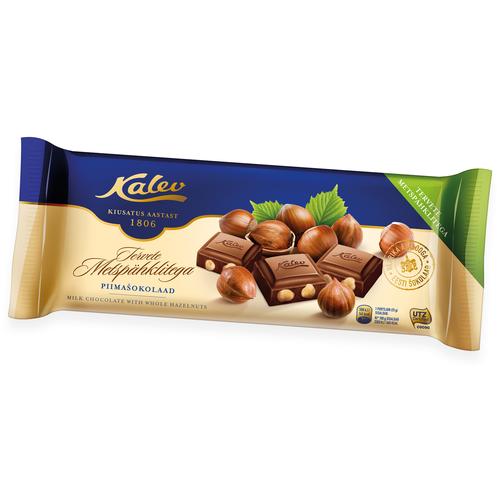 Шоколад KALEV молочный с цельным лесным орехом 200г (Эстония)