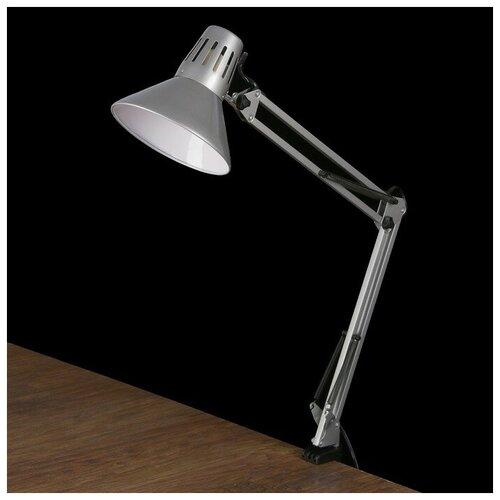 Уютель Настольная лампа 1x60W E27 серебро (на струбцине) 17x17x81см