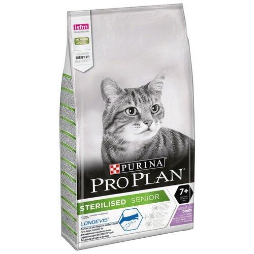 Корм сухой Pro Plan для стерилизованных кошек 7+, с индейкой, Пакет, 10кг