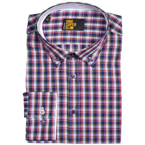 Рубашка Seidensticker размер 38 белый/бордовый/голубой
