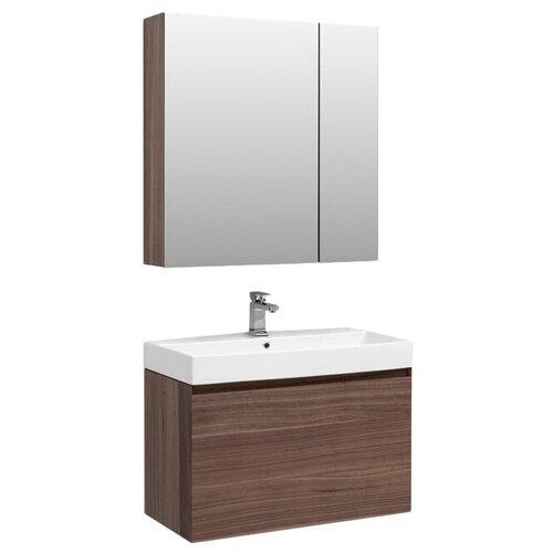 Фото - Aquanet Комплект мебели Aquanet Нью-Йорк 85 орех зеркальный шкаф aquanet нью йорк 70 орех 203952