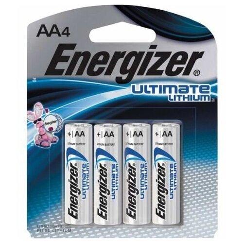 Батарейка AA литиевая Energizer Lithium Ultimate FR 6-4BL 1.5V в блистере 4шт. батарейка energizer ultimate lithium aa 2 шт