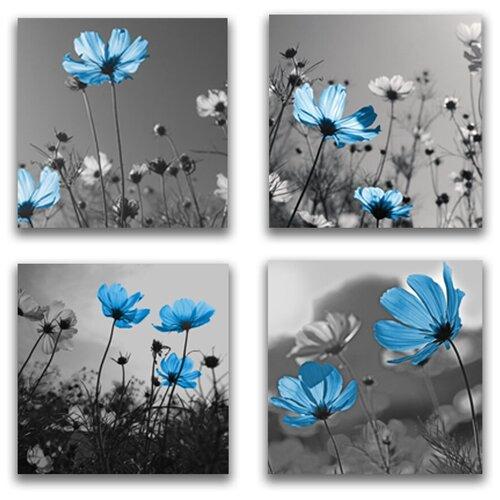 Комплект картин на холсте LOFTime 4 шт 30Х30 голубые цветы К-050-3030