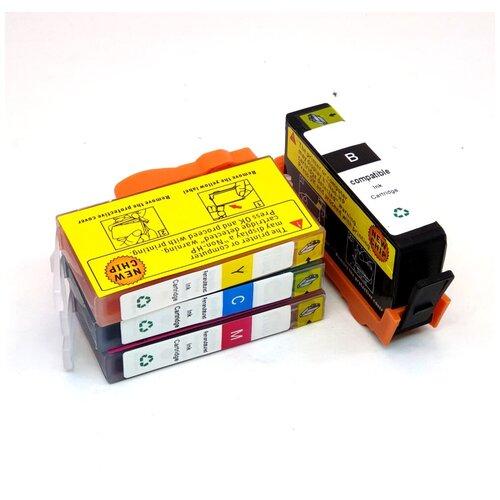 Фото - Картриджи для HP Deskjet Ink Advantage 3525, 6525, 4625, 5525, 4615, комплект 4 цвета, совместимые 655, PL-655-4 чернила hp 655 hp655 для hp deskjet 3525 5525 6525 4615 4625 набор 9 предметов инструкция совместимые