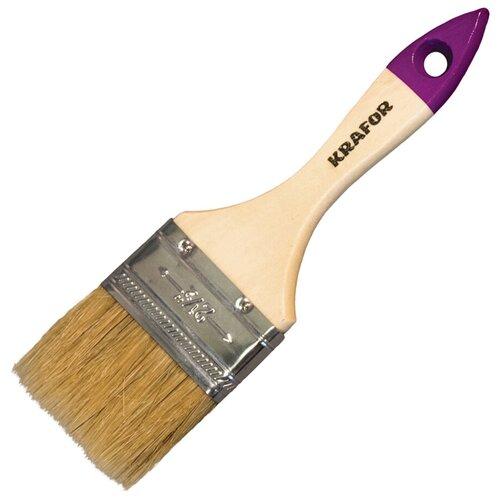 Кисть плоская №4 /100 ММ (12/240) натур.щетина, дерев.ручка