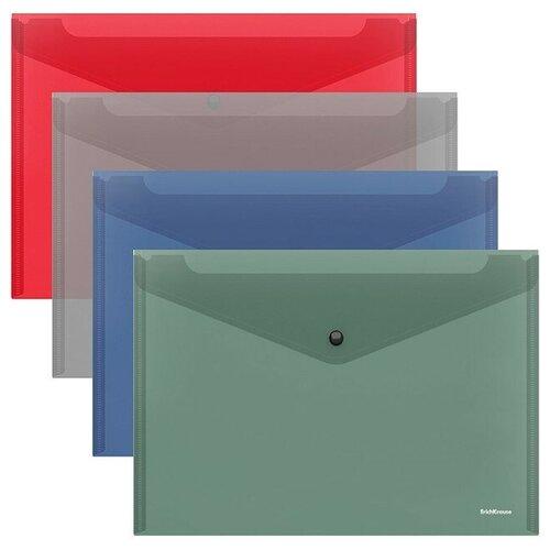 Папка-конверт на кнопке пластиковая Glossy Classic, полупрозрачная, A4, ассорти недорого