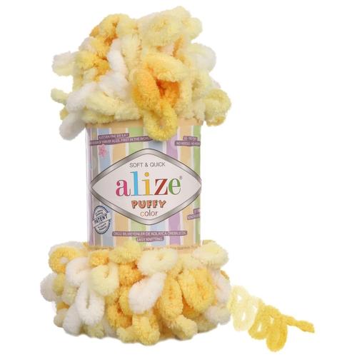 Пряжа Alize Puffy Color 100г, 9м (Ализе Пуффи Колор) цвет 5921 белый/желтый