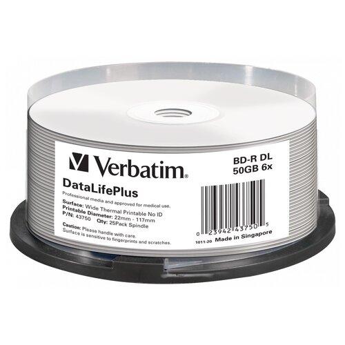 Фото - Диск BD-R Verbatim 50Gb 6x 25 шт. cake box диск bd r 50gb cmc 6x full printable bulk упаковка 10 штук