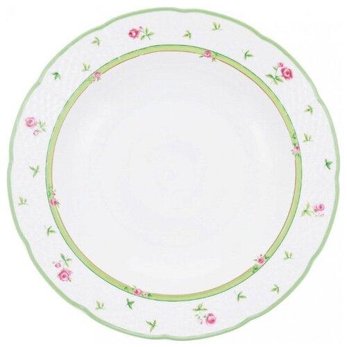 Набор глубоких тарелок Menuet (декор Роза, зеленая отводка) 6 тарелок, 23 см недорого