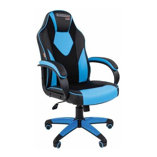 Кресло компьютерное СН GAME 17, ткань TW/экокожа, черное/голубое, 7024559 roketas голубое компьютерное кресло mebelvia