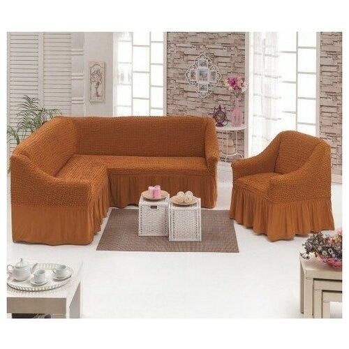 Чехлы на угловой диван и кресло, цвет: кирпичный