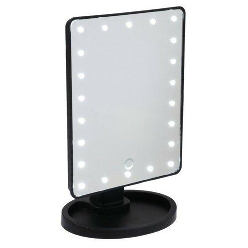 Зеркало LuazON KZ-06, подсветка, 26,5 × 16 × 12 см, 4*АА, 22 диода, сенсорная кнопка