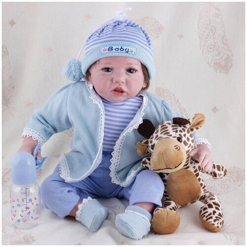 Reborn Kaydora Мягконабивная кукла Реборн (Reborn Dolls) - Мальчик в синем полосатом костюмчике (56 см)