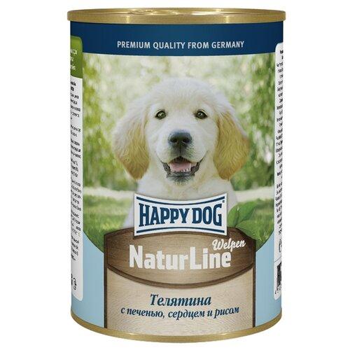 Влажный корм для щенков Happy Dog NaturLine для беременных/кормящих, телятина, печень, сердце, с рисом 20 шт. х 410 г