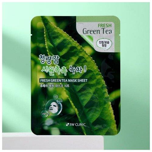 Фото - Тканевая маска для лица 3W CLINIC с зелёным чаем, 23 мл 3w clinic тканевая маска с экстрактом алоэ 23 мл